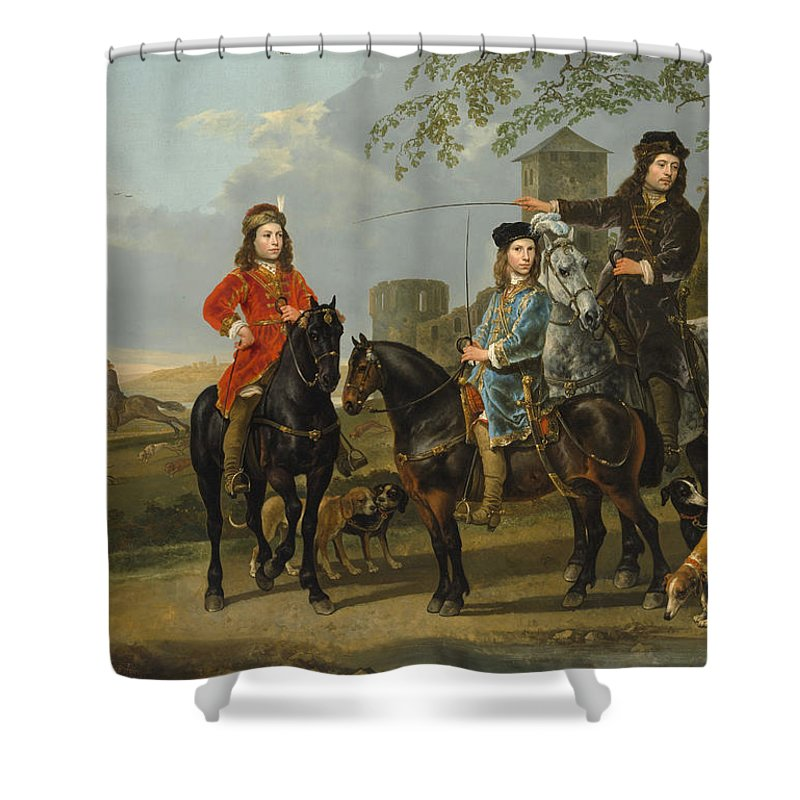 Aelbert Cuyp Shower Curtain featuring the painting Starting For The Hunt by Aelbert Cuyp
