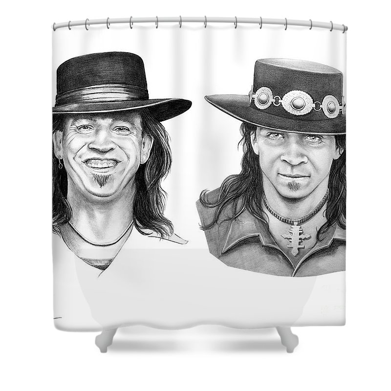 Drawing Shower Curtain featuring the drawing Stevie Ray Vaughn by Murphy Elliott