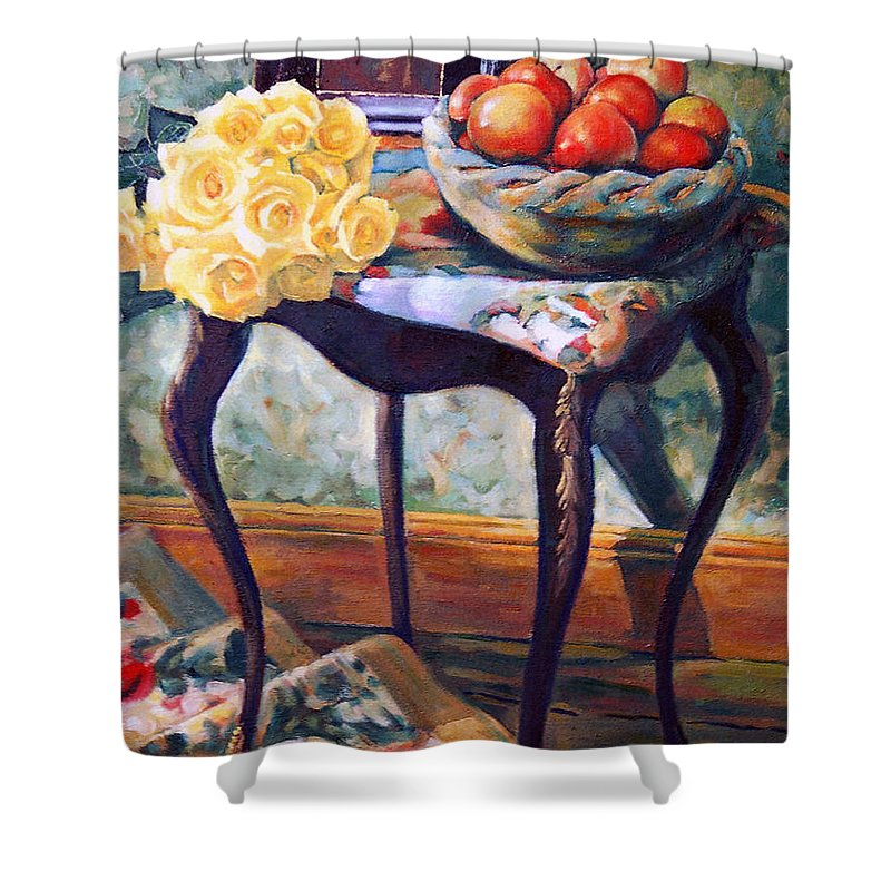 Still Life Shower Curtain featuring the painting Still Life With Roses by Iliyan Bozhanov