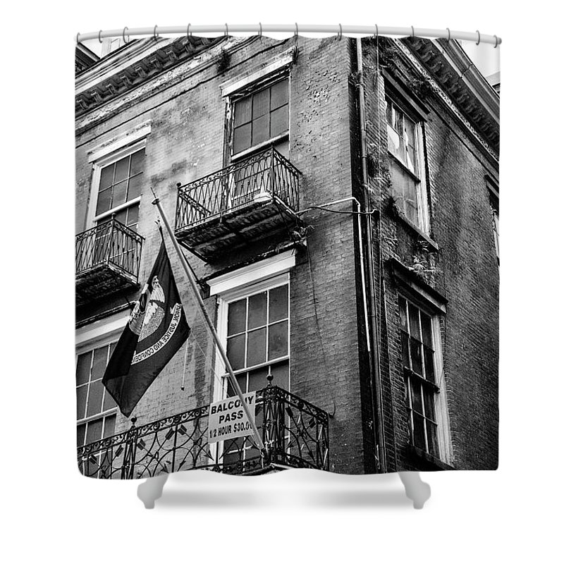 New Orleans Shower Curtain featuring the photograph 2 Story Building New Orleans Black White by Chuck Kuhn