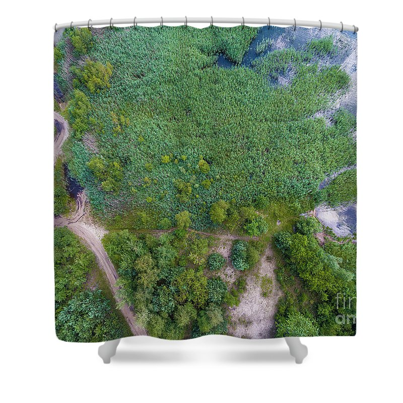 Above Shower Curtain featuring the photograph Summer Time Lake And Green Forest, In Poland Lanscape. by Mariusz Prusaczyk
