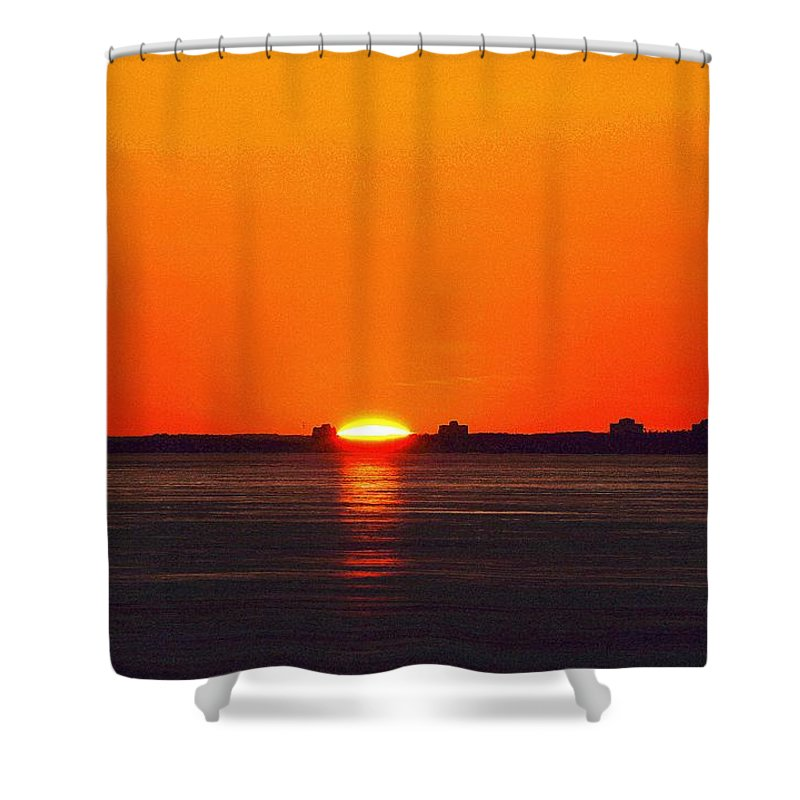 Abstract Shower Curtain featuring the digital art Sun Crown Two by Lyle Crump