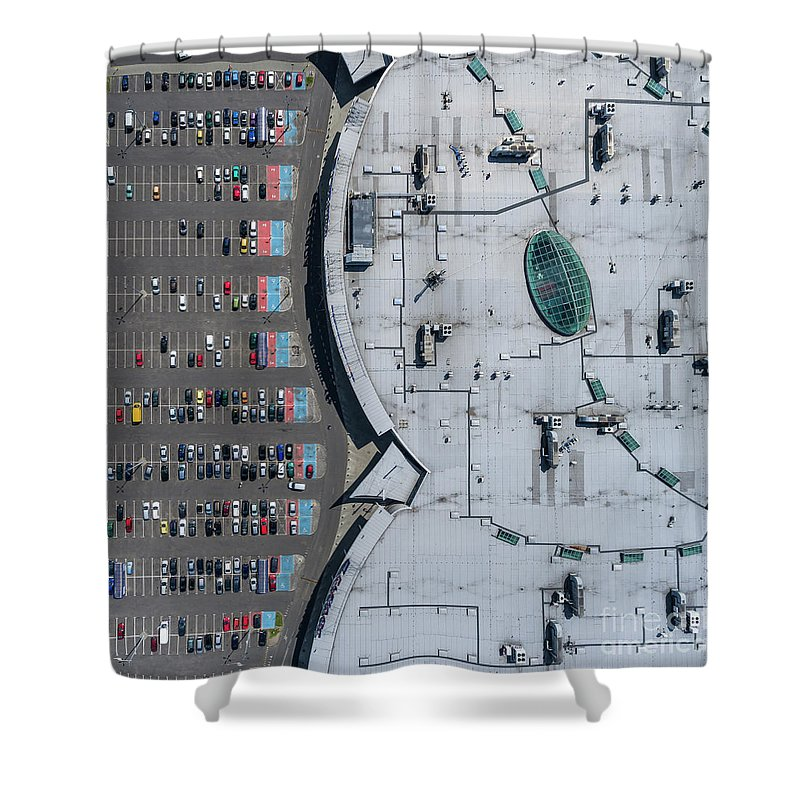 Above Shower Curtain featuring the photograph Supermarket Roof And Many Cars In Parking, Viewed From Above. by Mariusz Prusaczyk