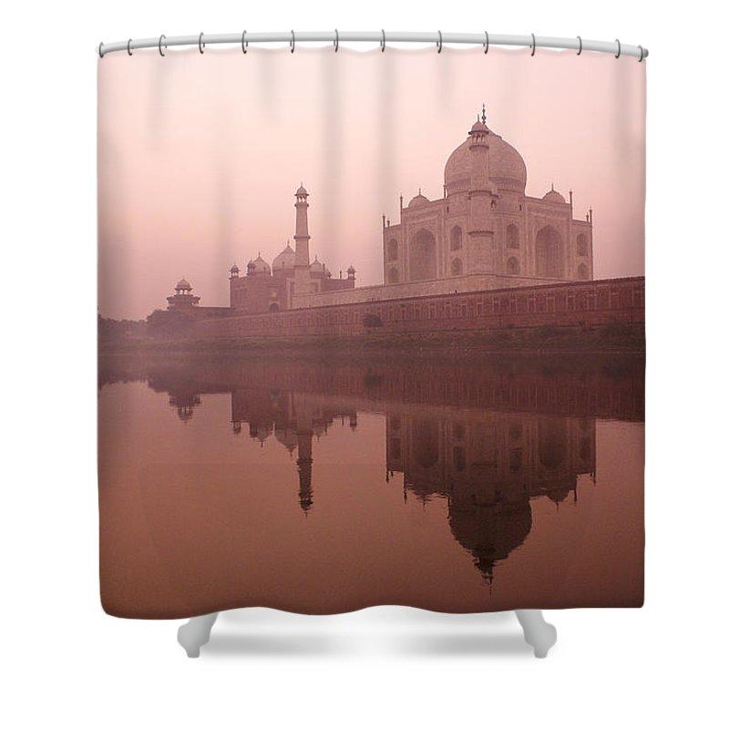 Taj Mahal Shower Curtain featuring the photograph Taj Mahal At Dawn by Michele Burgess