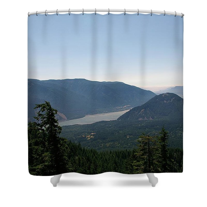 Scenic. Views Shower Curtain featuring the photograph The Columbia River by Jeff Swan