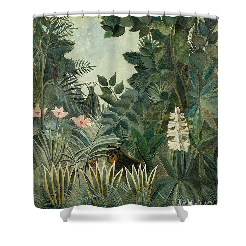 Henri Rousseau Shower Curtain Featuring The Painting Equatorial Jungle By