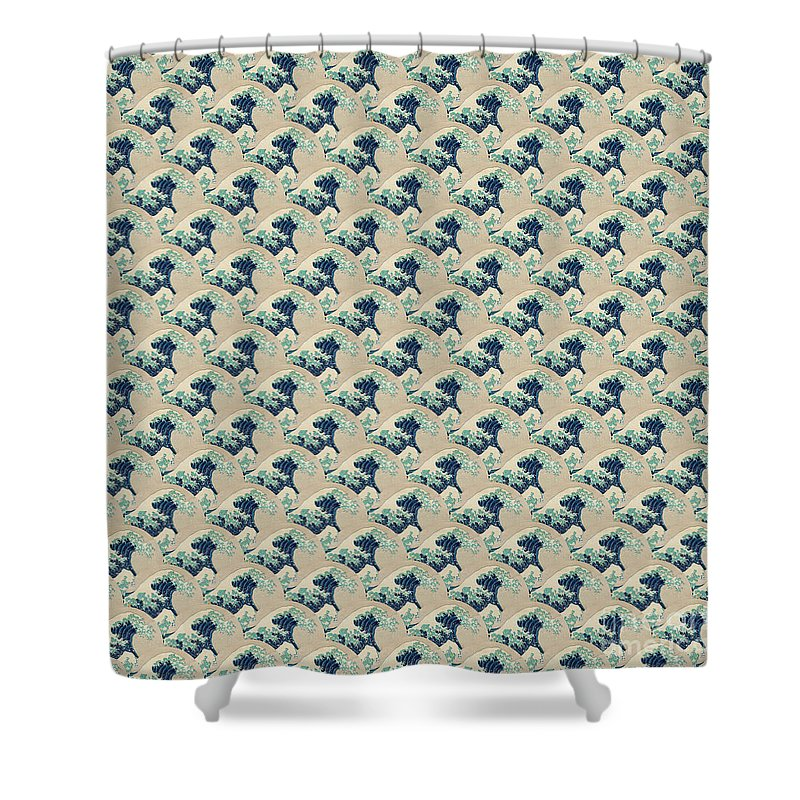 Design Shower Curtain Featuring The Painting Great Wave Off Kanagawa Repeating Pattern By Hokusai
