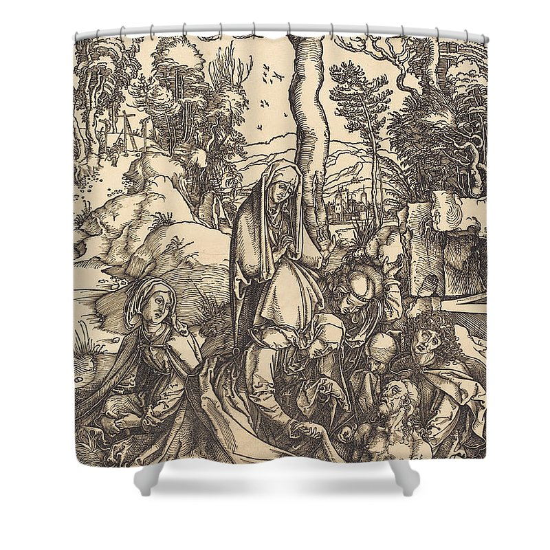 Shower Curtain featuring the drawing The Lamentation by Albrecht D?rer