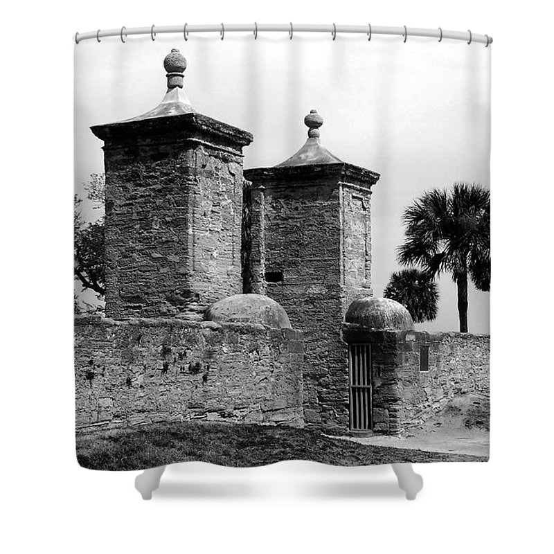 Saint Augustine Florida Shower Curtain featuring the photograph The Old City Gates by David Lee Thompson