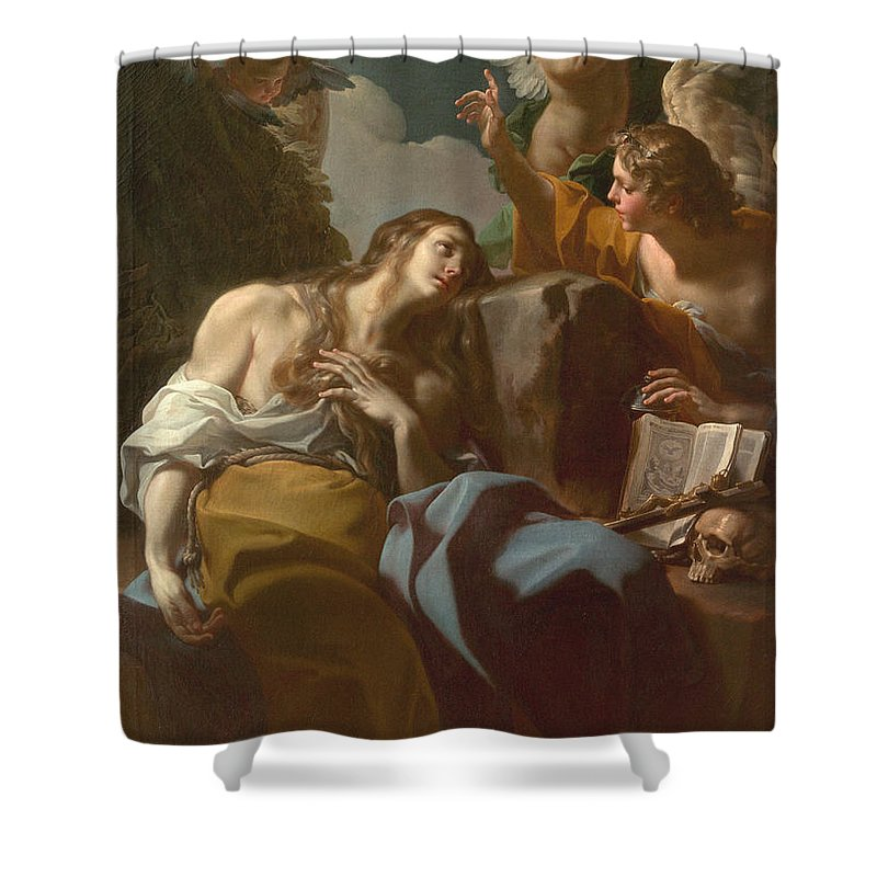 Saint Shower Curtain featuring the painting The Penitent Magdalen by Corrado Giaquinto