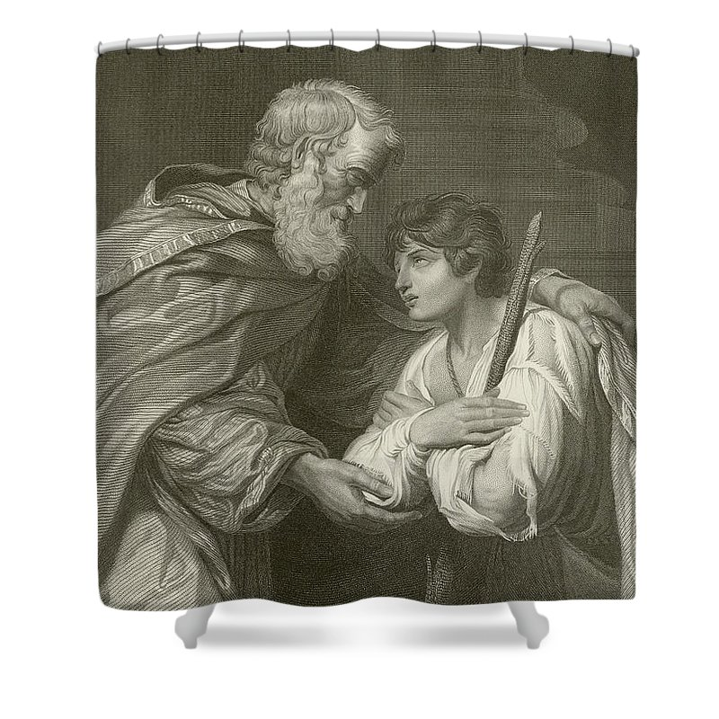 Prodigal Shower Curtain featuring the drawing The Return Of The Prodigal Son by English School