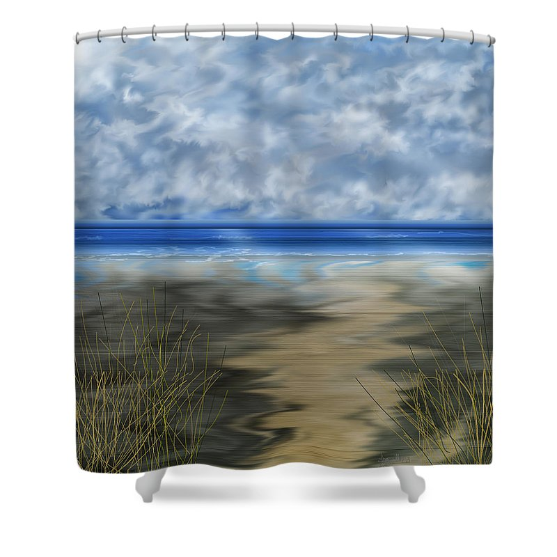 Anne Norskog Shower Curtain featuring the painting The Road Less Travelled by Anne Norskog