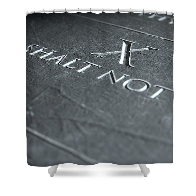 Stone Shower Curtain featuring the digital art The Tenth Commandment by Allan Swart