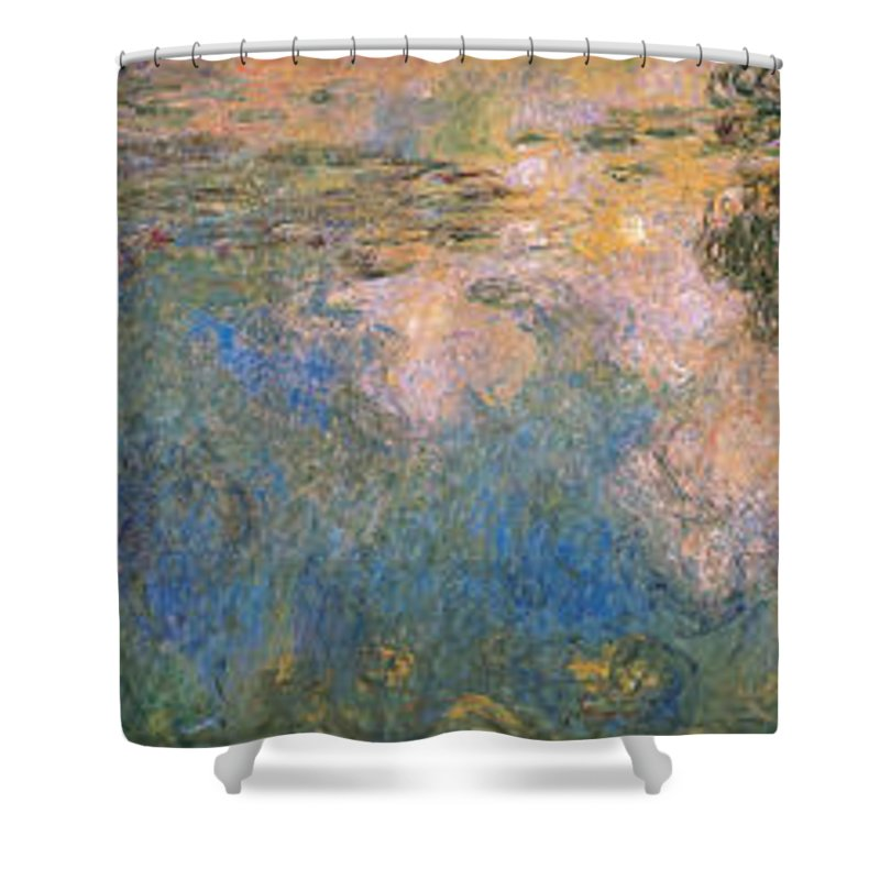 Blue Shower Curtain featuring the painting The Water-lilies Pond by Claude Monet