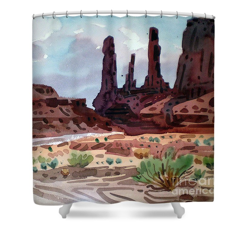 Monument Valley Shower Curtain featuring the painting Three Sisters by Donald Maier