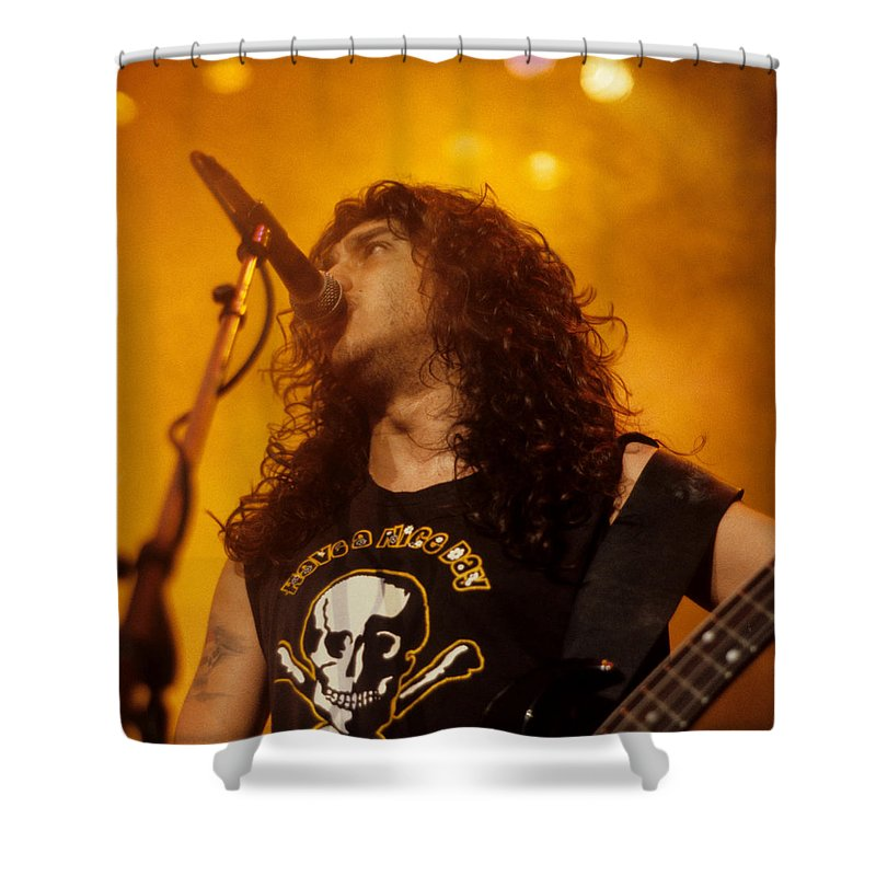 Tom Araya Shower Curtain Featuring The Photograph Of Slayer By Rich Fuscia