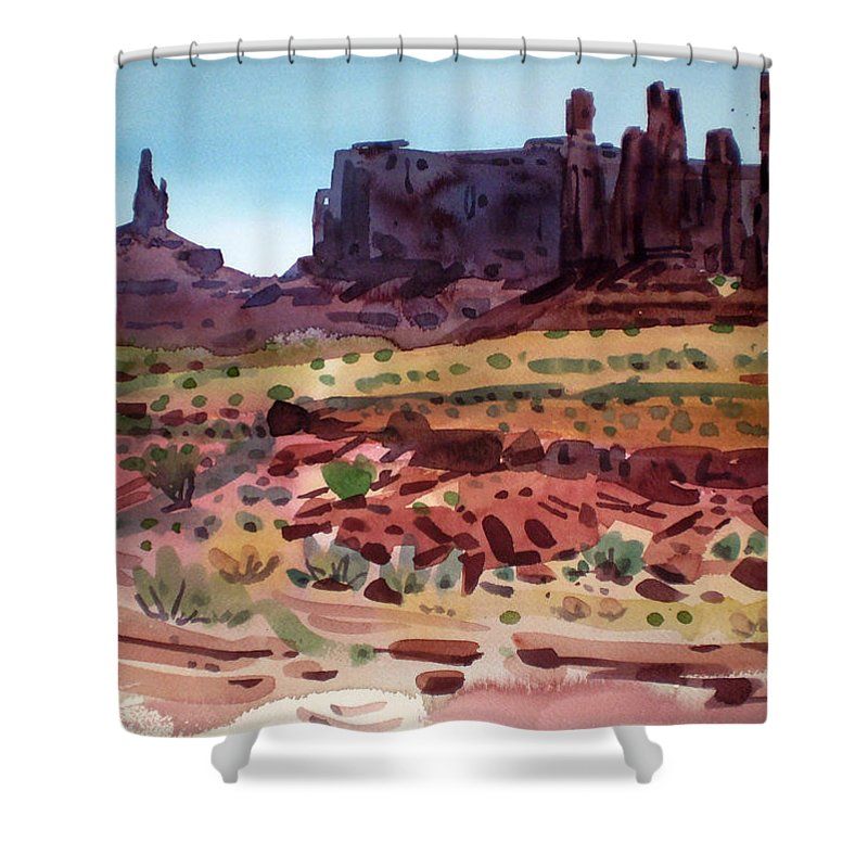 Monument Valley Shower Curtain featuring the painting Totem Poles by Donald Maier