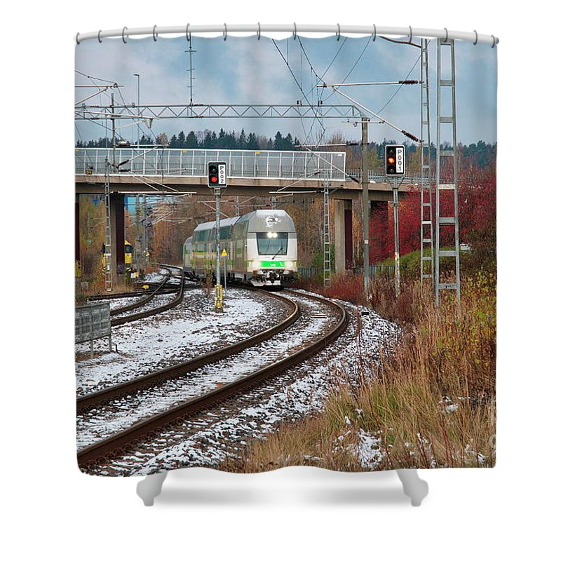 Train Shower Curtain featuring the photograph Train by Esko Lindell