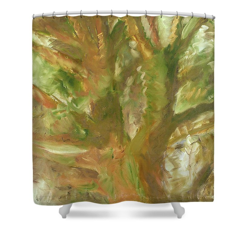 Sun Shower Curtain featuring the painting Tree by Robert Nizamov