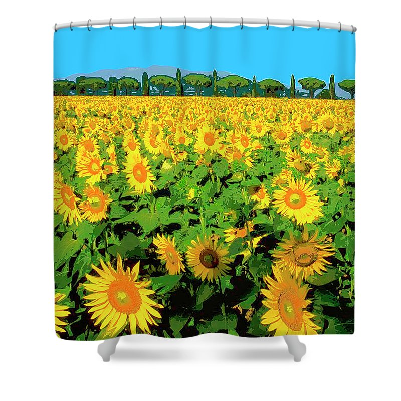 Tuscany Sunflowers Shower Curtain featuring the mixed media Tuscany Sunflowers by Dominic Piperata