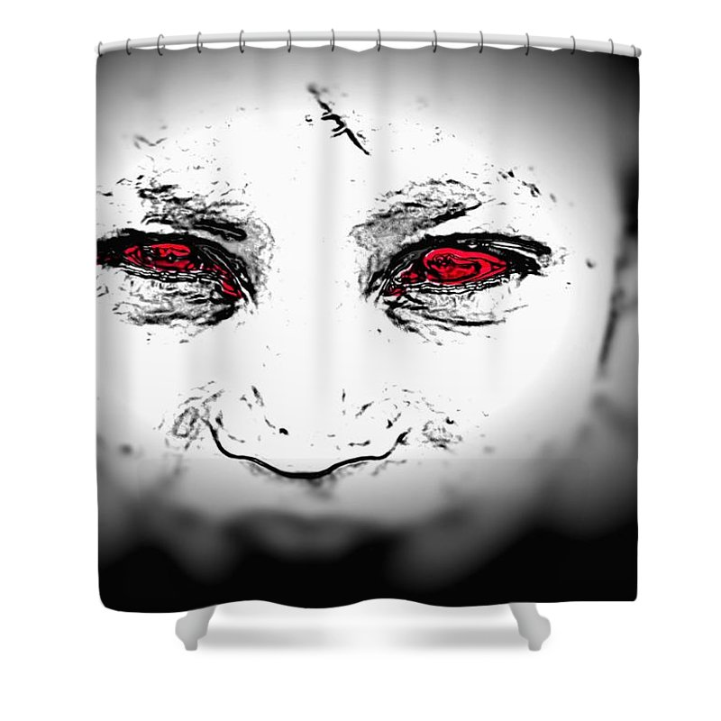 Eyes Face Looks Black And White Red Shower Curtain featuring the digital art Untitled by Veronica Jackson