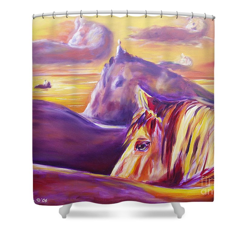 Horses Shower Curtain featuring the painting Horse World by Gina De Gorna