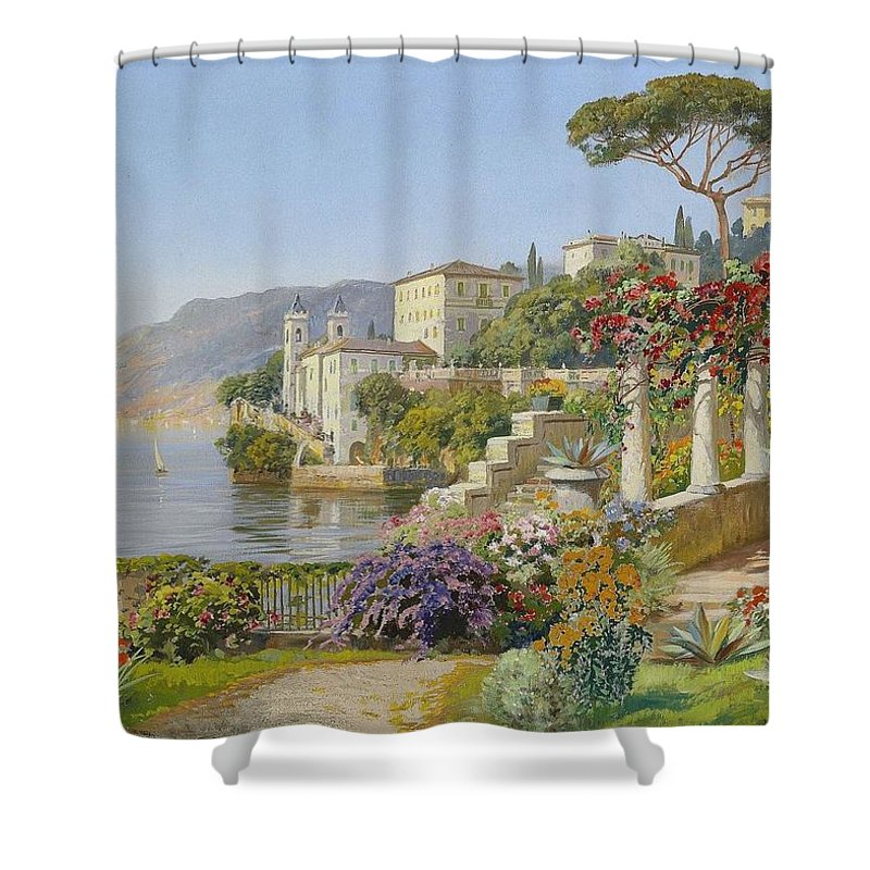 Alois Arnegger (1879-1963) View Of A Lake In The South Shower Curtain featuring the painting View Of A Lake In The South by Alois Arnegger