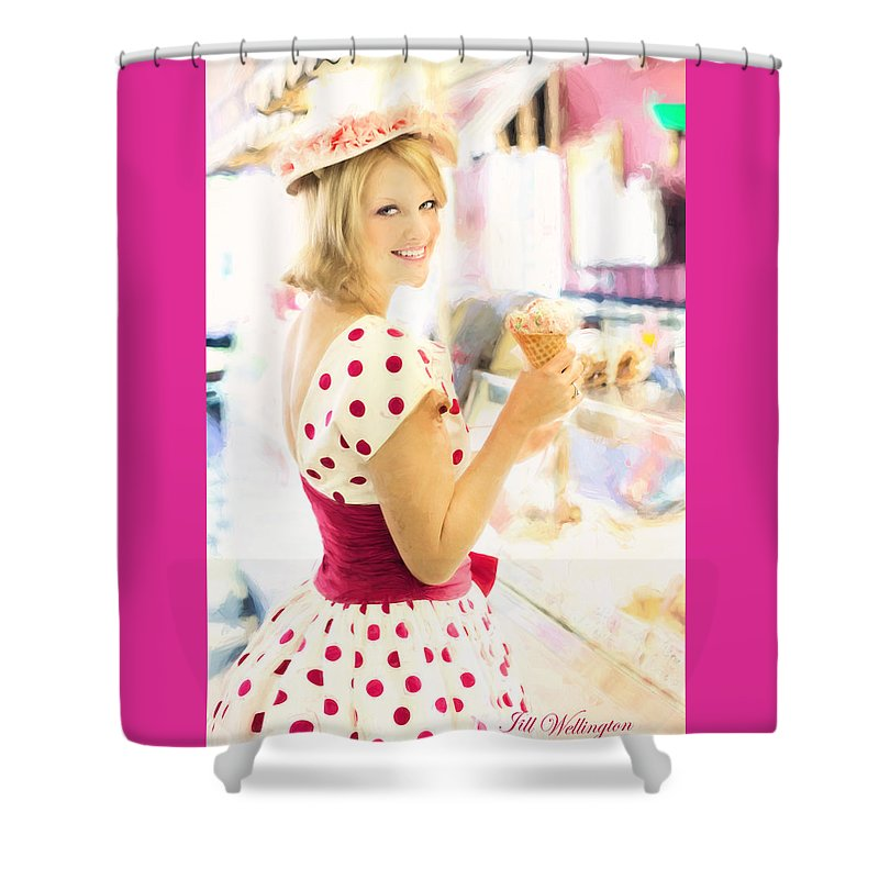 Vintage Val Shower Curtain featuring the digital art Vintage Val Ice Cream Parlor by Jill Wellington