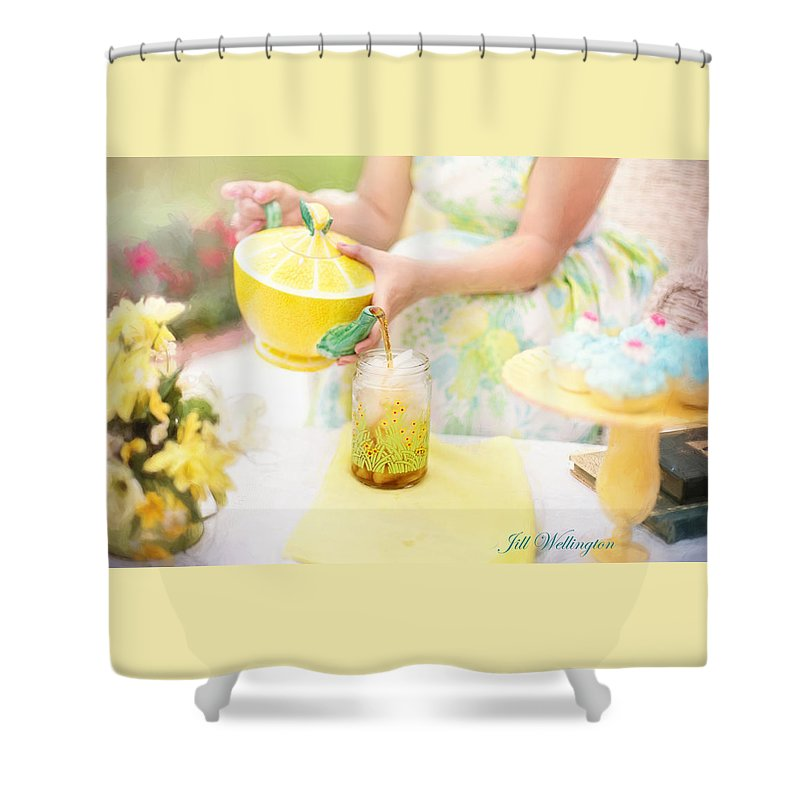 Vintage Val Shower Curtain featuring the digital art Vintage Val Iced Tea Time by Jill Wellington