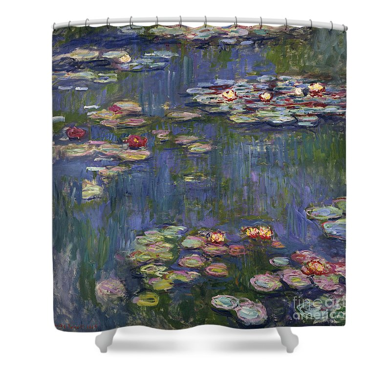 Monet Shower Curtain featuring the painting Water Lilies, 1916 by Claude Monet