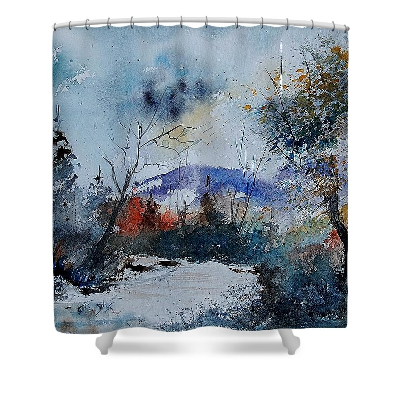 Winter Shower Curtain featuring the painting Watercolor 802120 by Pol Ledent
