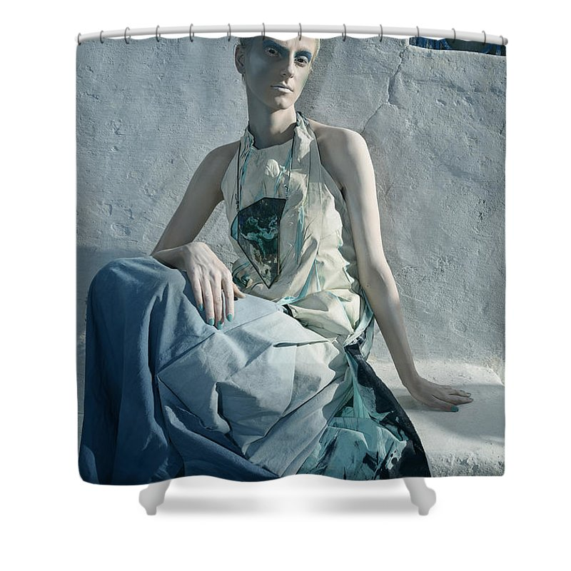 Art Shower Curtain featuring the photograph Woman In Ash And Blue Body Paint by Veronica Azaryan