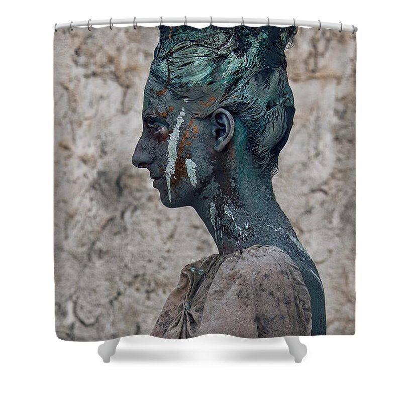 Antik Shower Curtain featuring the photograph Woman In Bronze Statue Look With Patina Body Paint by Veronica Azaryan