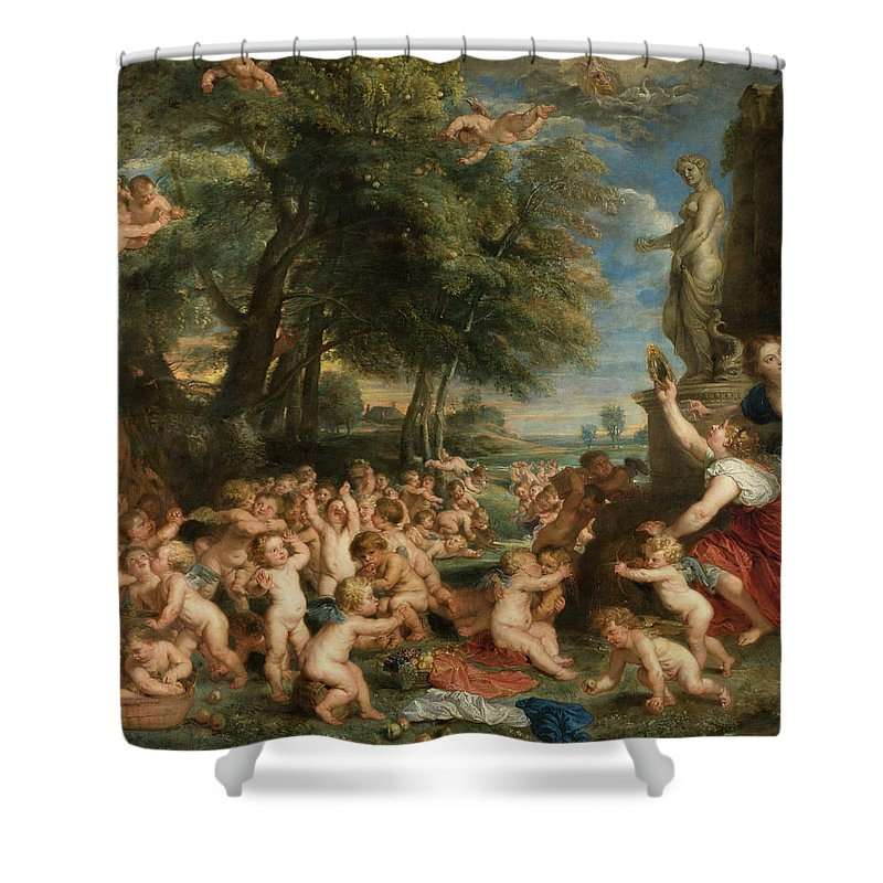 Worship Of Venus Shower Curtain featuring the painting Worship Of Venus 2 by Peter Paul Rubens