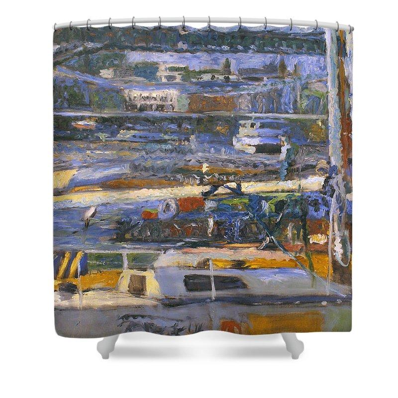 Bay Shower Curtain featuring the painting Regatta by Robert Nizamov