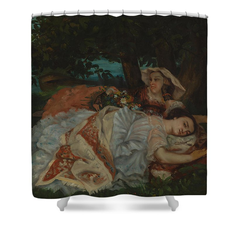 Male Shower Curtain featuring the painting Young Ladies On The Bank Of The Seine by Gustave Courbet