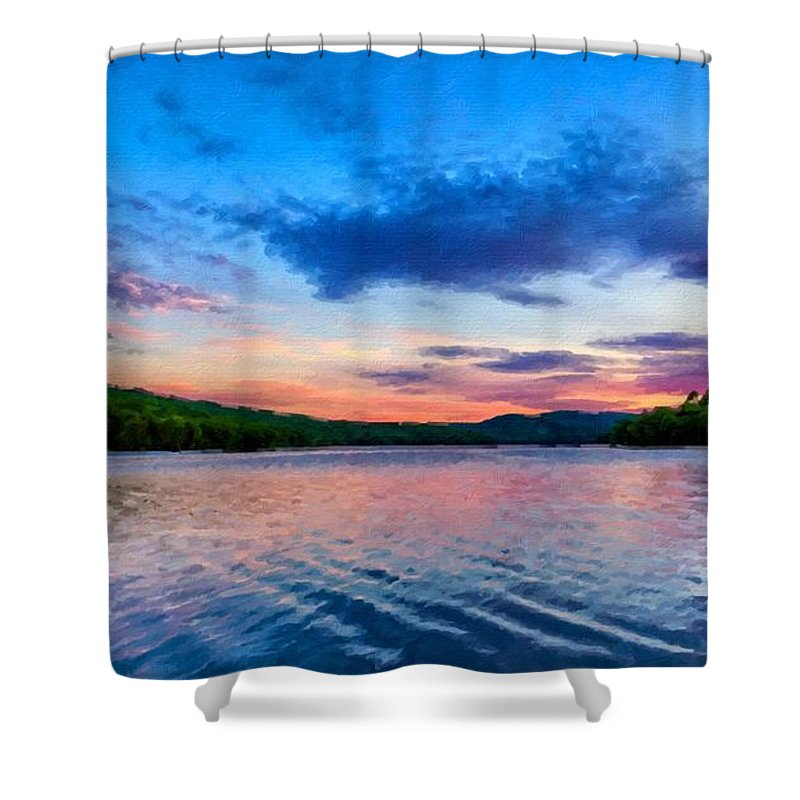 Original Shower Curtain featuring the digital art In The Landscape by Usa Map