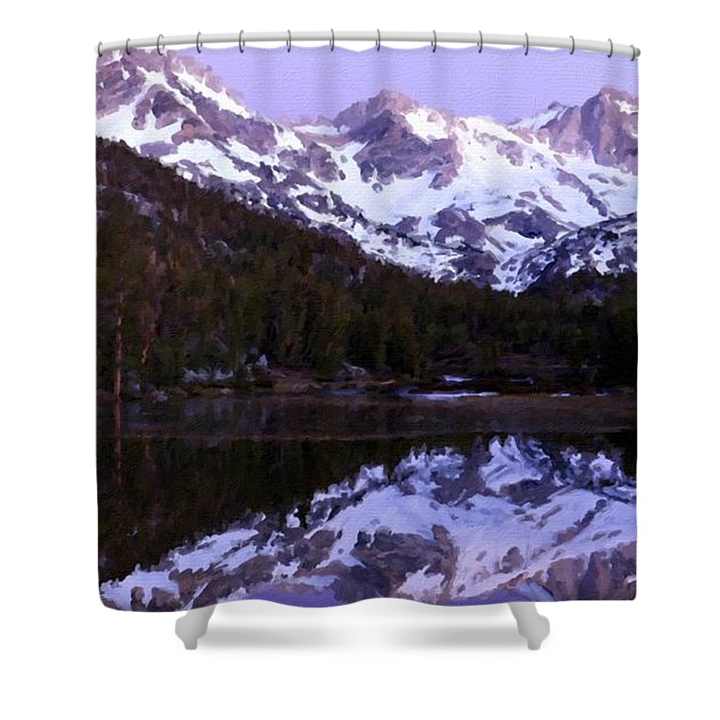 Nature Shower Curtain featuring the digital art Landscape Art Painting by Usa Map