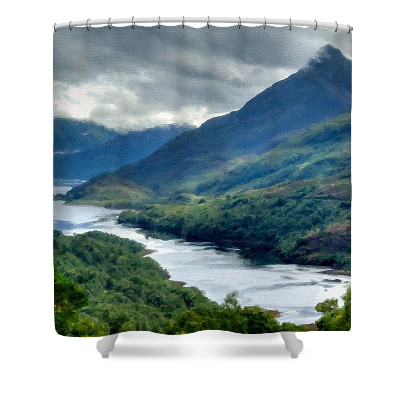 W Shower Curtain featuring the digital art Nature Landscape by Usa Map