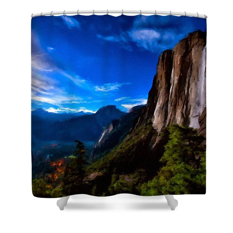 Great Shower Curtain featuring the digital art Pictures Of Landscape by Usa Map