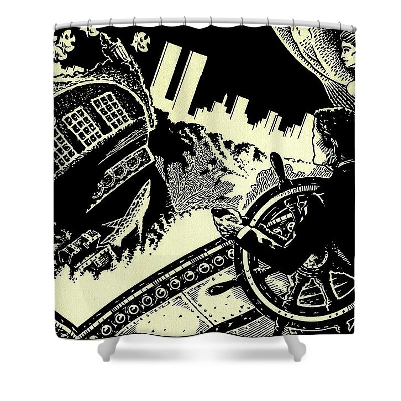 20 Shower Curtain featuring the drawing 20,000 Leagues Under The Sea by Lance Miyamoto