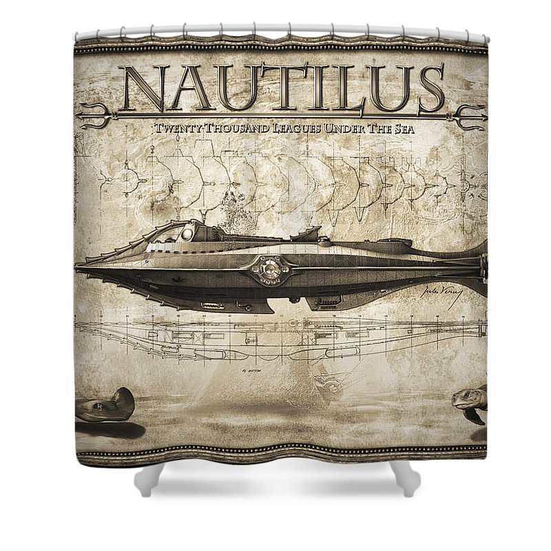 Classic Science Fiction Shower Curtain Featuring The Digital Art 20,000  Leagues Under The Sea By Robert