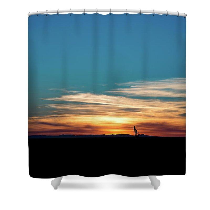 Drillers Club Shower Curtain featuring the photograph 2016_10_pecos Tx_pump Jacks 4 by Brian Farmer