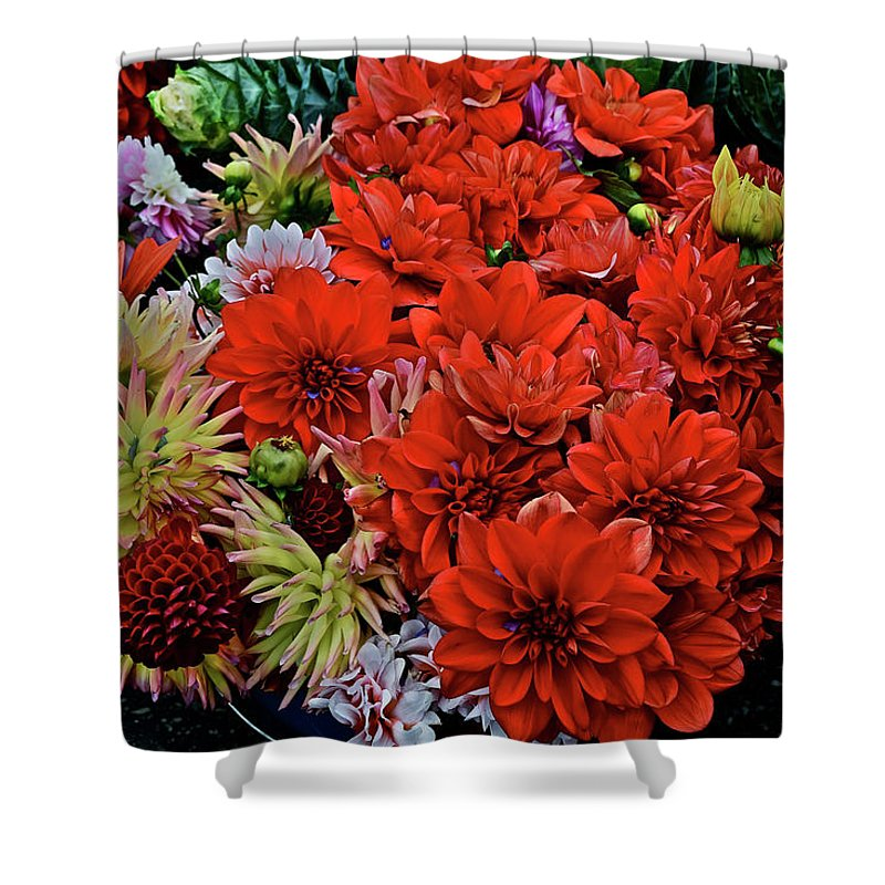 Flowers Shower Curtain featuring the photograph 2017 Mid October Monona Farmers' Market Buckets Of Blossoms 1 by Janis Nussbaum Senungetuk