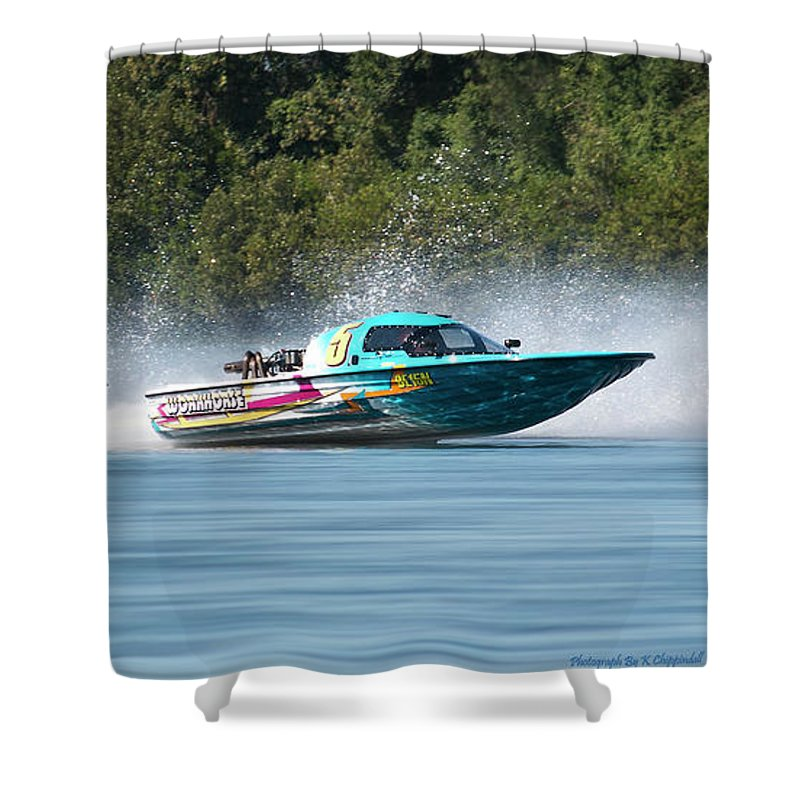 2017 Taree Race Boats Shower Curtain featuring the digital art 2017 Taree Race Boats 08 by Kevin Chippindall