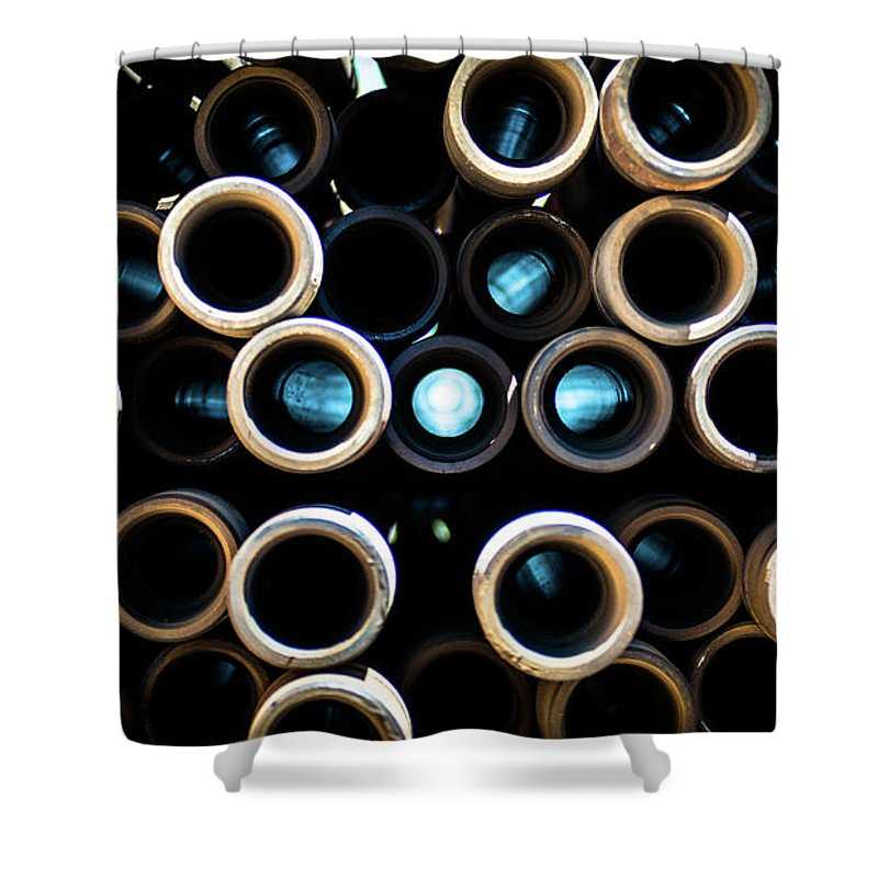 Drillers Club Shower Curtain featuring the photograph 2017_05_midland Tx_drill Pipe Lights 3 by Brian Farmer