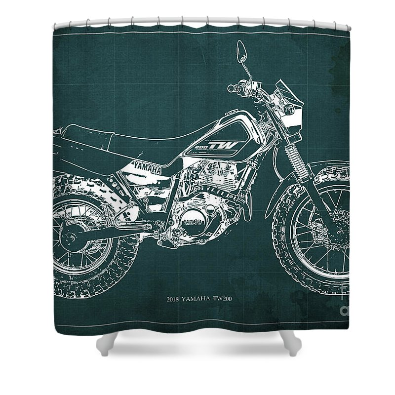 2018 Shower Curtain Featuring The Digital Art Yamaha Tw200 Blueprint Original Artwork Man Cave