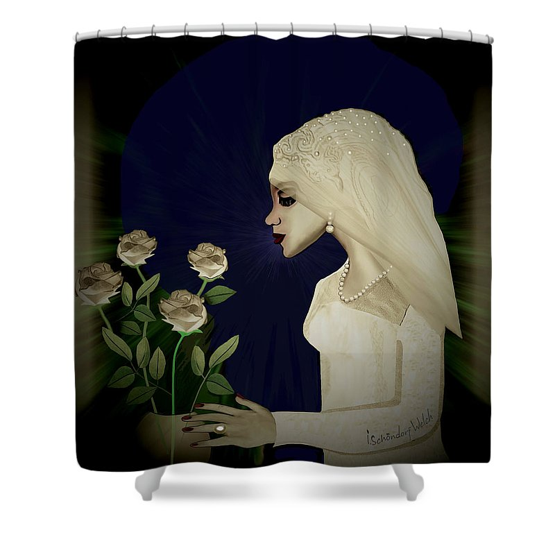 Lady Shower Curtain featuring the painting 202 - Shy Bride 2017 by Irmgard Schoendorf Welch