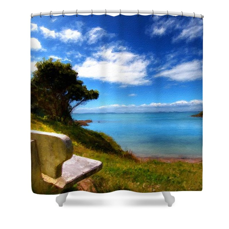 Landscape Shower Curtain featuring the digital art Living Landscape by Usa Map