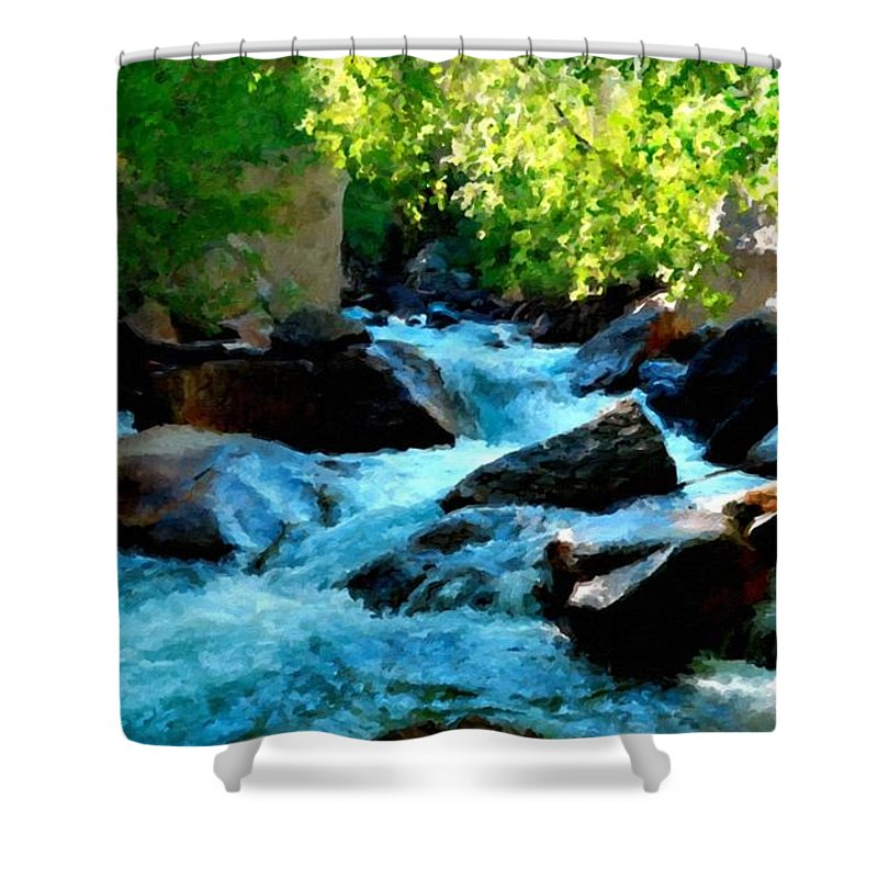 Landscape Shower Curtain featuring the digital art Natural Landscape by Usa Map